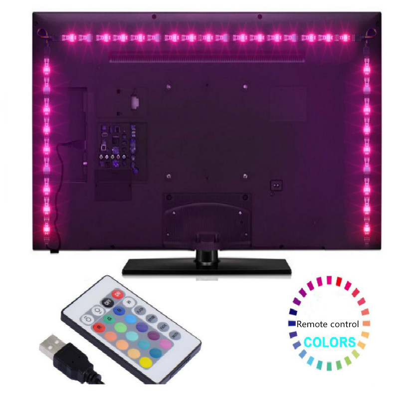 5v tv led tv USB connection with Remote control change color length 1M 2M 3M 4M 5M free shipping