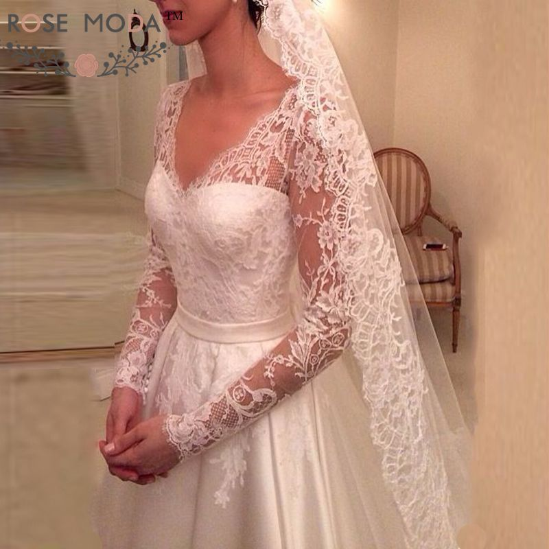 Rose Moda Long Lace Sleeve A Line Wedding Dress with Removable Skirt Lace Bridal Dress 2019