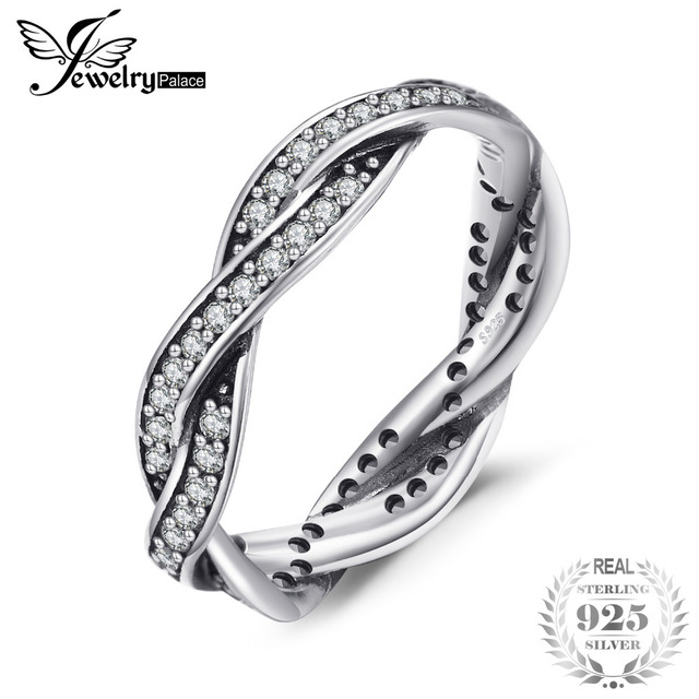 Jewelrypalace 925 Sterling Silver Rings Cubic Zirconia Infinity Wedding Band Bri