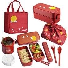 Японский стиль bento box пластиковые Ланч-боксы мультфильм microwavable еда контейнер посуда с мешками ложки палочки для еды