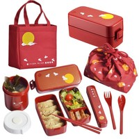 Japanese style bento box plastic lunch boxes cartoon microwavable food containter tableware with bags spoons chopsticks