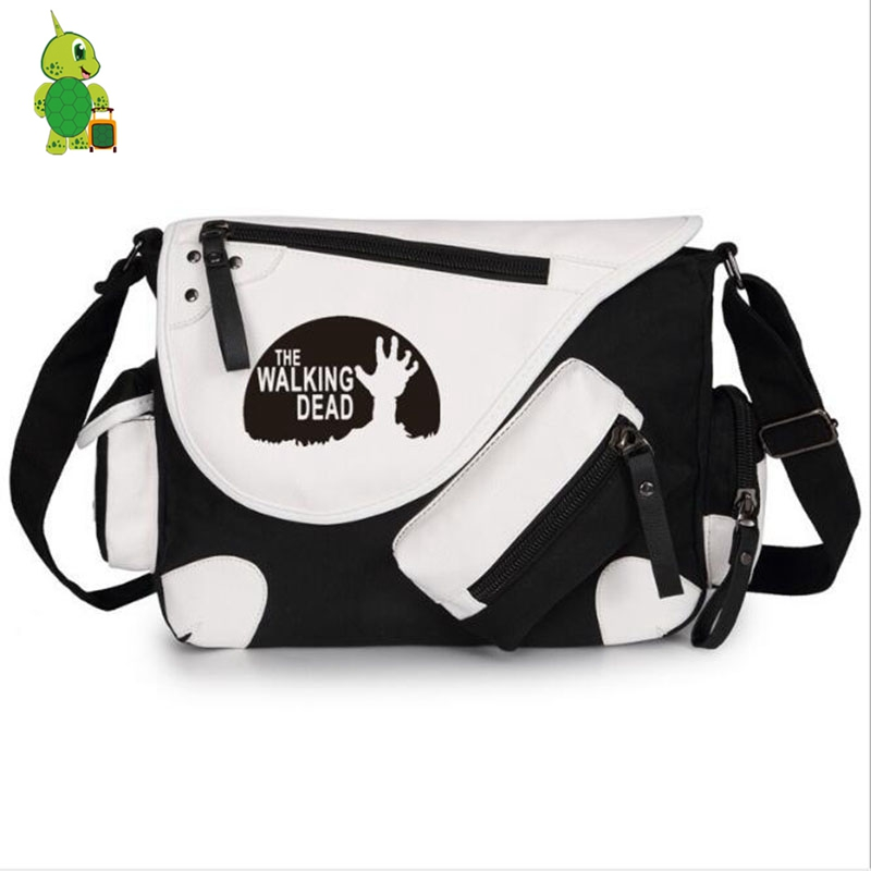 Hot The Walking Dead Messenger Bag Canvas Shoulder Bag For Teenagers Students Book Bag Women Men Crossbody Travel Bags
