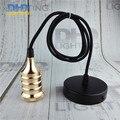 Light golden Industrial Retro Edison Bulb Lamp pendant Vintage Loft Antique fabric wire DIY E27 Art vintage Ceiling Lamp Fixture