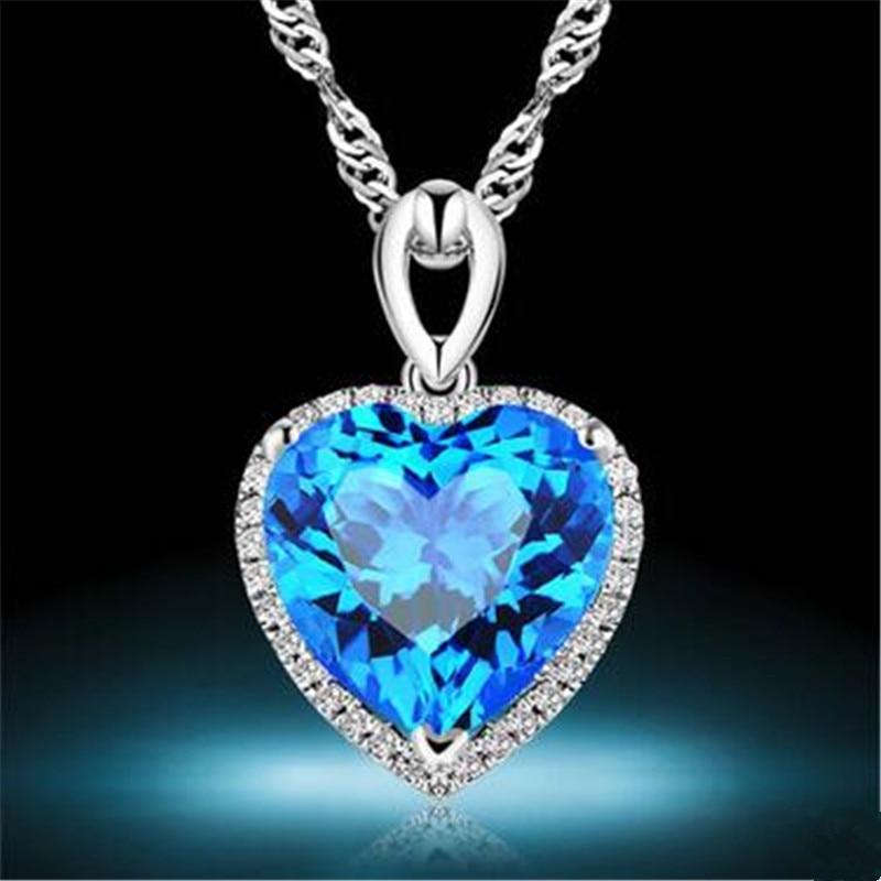 S925 Silver Heart Topaz Pendant Sterling Fine Jewelry Bridal Wedding Engagement Love Necklace Pendants Bijoux Femme No Chain