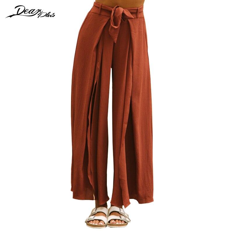 Summer Bohemian Beach   Wide     Leg     Pants   Women 2017 High Waist Belted Casual Loose   Pants   Trousers Sexy Split Boho   Pants