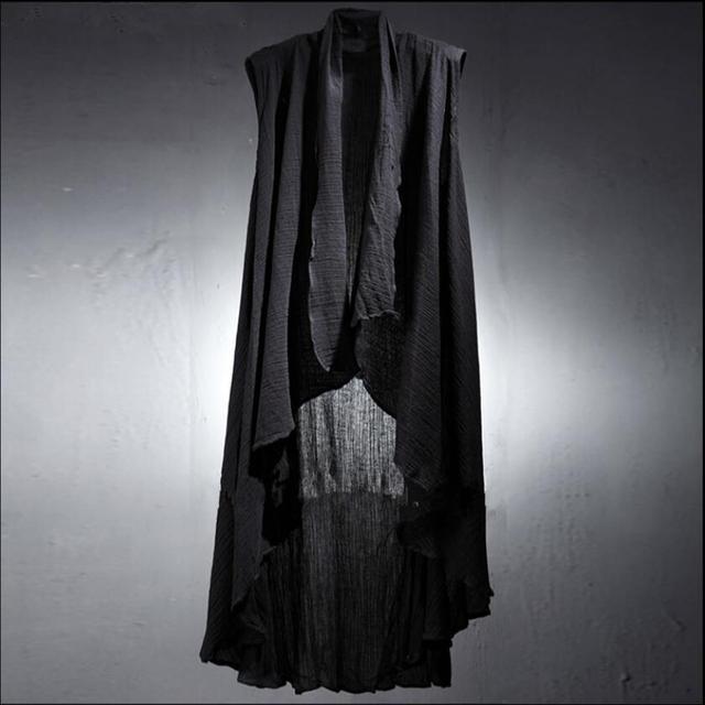 6c8b1e17d8a594 Sommer männer einfarbig Ärmellose Weste Original lange zeigen leinen weste  dünne haar stylist Unregelmäßigen mantel öffnen