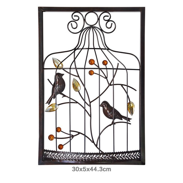 Abstract Chinese Bird Cage Iron Frame Furnishing Sculpture Wall