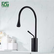 FLG Basin Faucets Modern Black Bathroom Faucet Waterfall faucets Single Hole Cold and Hot Water Tap Mixer Taps 1067