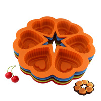 Round Six Cardioid Silicone Cake Mold Baking Tools Home Kitchen Dining Bar Bakeware Stencil Tray Accessories