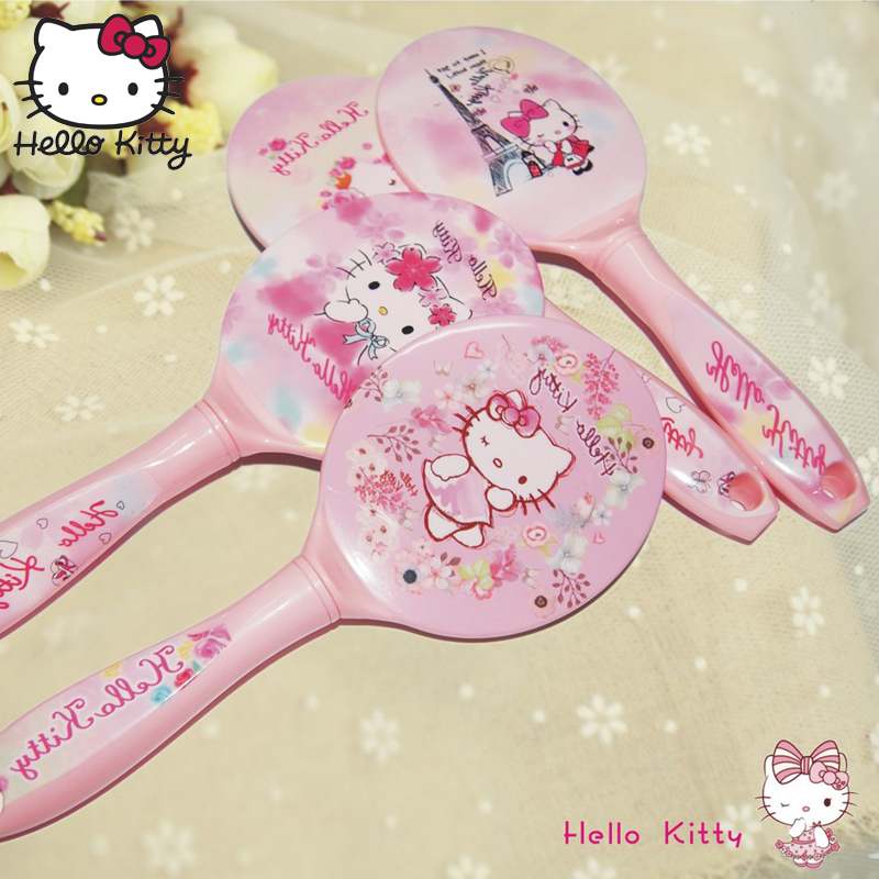 2019 1PCS Cute Hello Kitty Makeup Hand Mirror Plastic Held Portable Cosmetic Mirrors KT Pattern Beauty Cute Style Gift Makeup