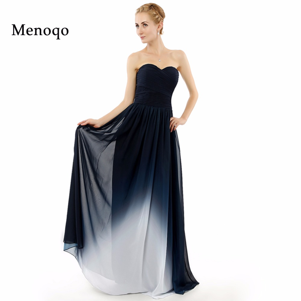 New Real Photo Abendkleider A Line Floor Length Gradient Ombre ...