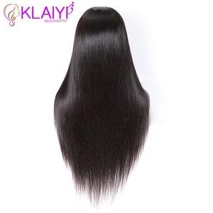 """Image 5 - Klayi pelucas de cabello humano con encaje frontal liso brasileño, 180% de densidad con pelo de bebé, encaje suizo 13*4, cabello Remy de 12 """" 28"""""""