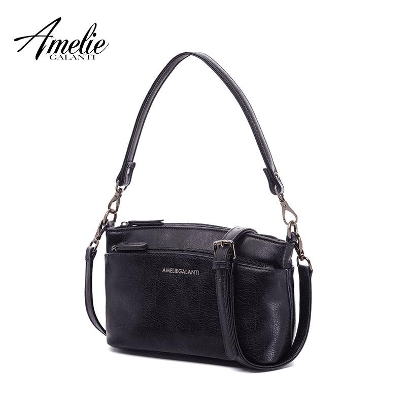 AMELIE GALANTI Ladies small flap messenger bag casual fashionable practical suitable many pockets zipper solid soft versatile купальник amelie im68n41 imis