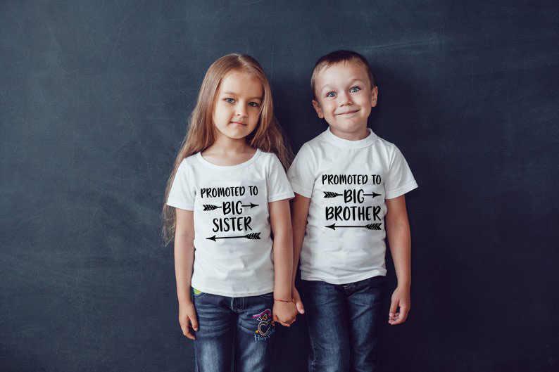 Gepromoveerd Tot Grote Broer Grote Zus Kids Bijpassende T-shirt Jongens Meisjes Tops Zomer Korte Mouw Peuter Shirt Casual Kinderen Doek