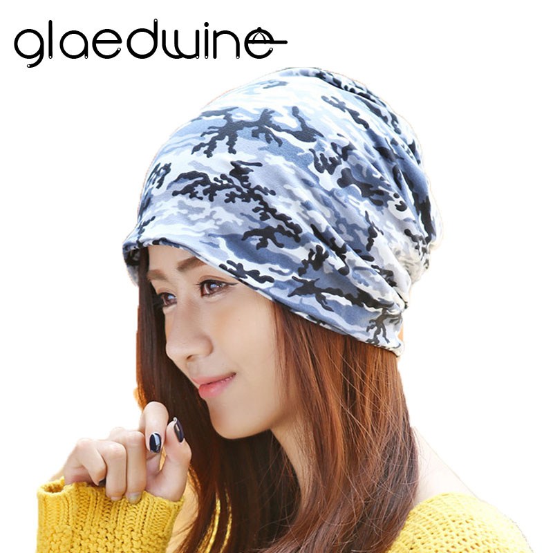Glaedwine New Fashion Camouflage cotton Beanies Fall Winter Brand Warm Womens casual Hats Baggy Gorros Turban Hip Hop Slouch Cap