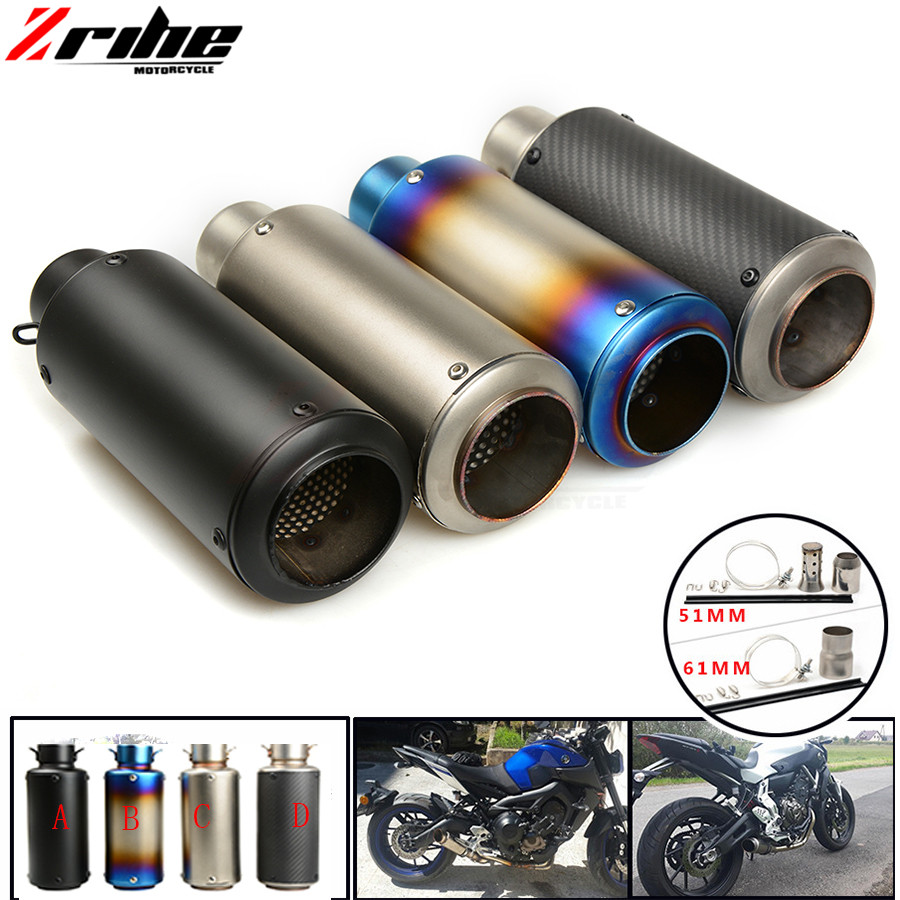 For 36-51 / 61mm Motorcycle Exhaust Pipe Scooter Modified Muffler Pipe Universal For YAMAHA FZ6 /600 FAZER /S2 2004 2005 2006 20 motorcycle carbon ceramic brake pads for yamaha fz6 600 fazer s2 2007 2009 front oem new zpmoto