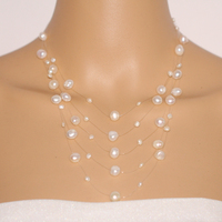 Fashion Multi Strand Pearl Necklace White Baroque Freshwater Pearl Statement Necklace Bridesmaid Illusion Necklace 5 Lines