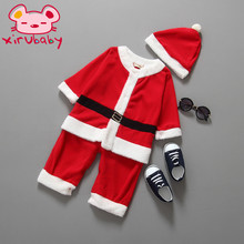 Xirubaby baby boy girl clothing Santa Claus Costume christmas and new year vestido infantil clothes