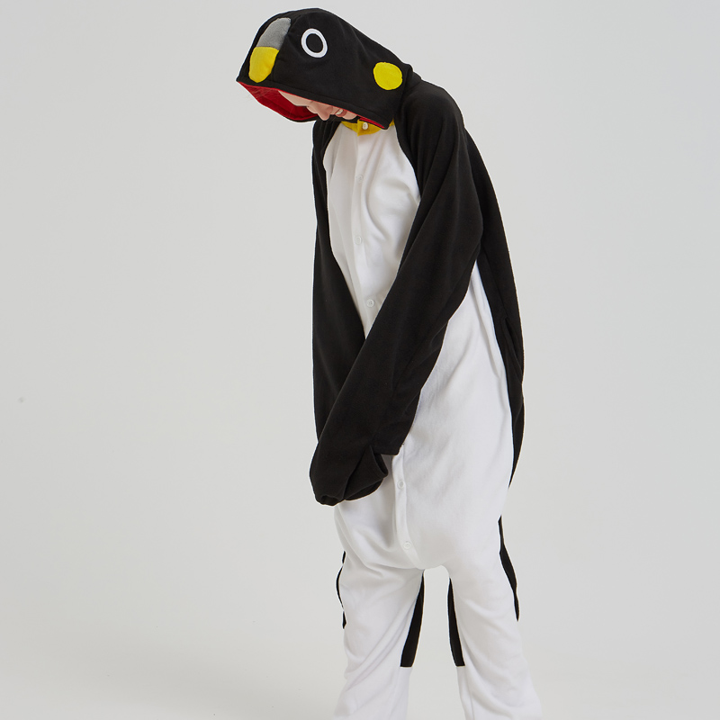 Adorable Black Penguin Kigurumi For Adult Pajamas Warm Polar Fleece Onesie For Halloween One-piece Cute Jumpsuit Cosplay Custome (3)