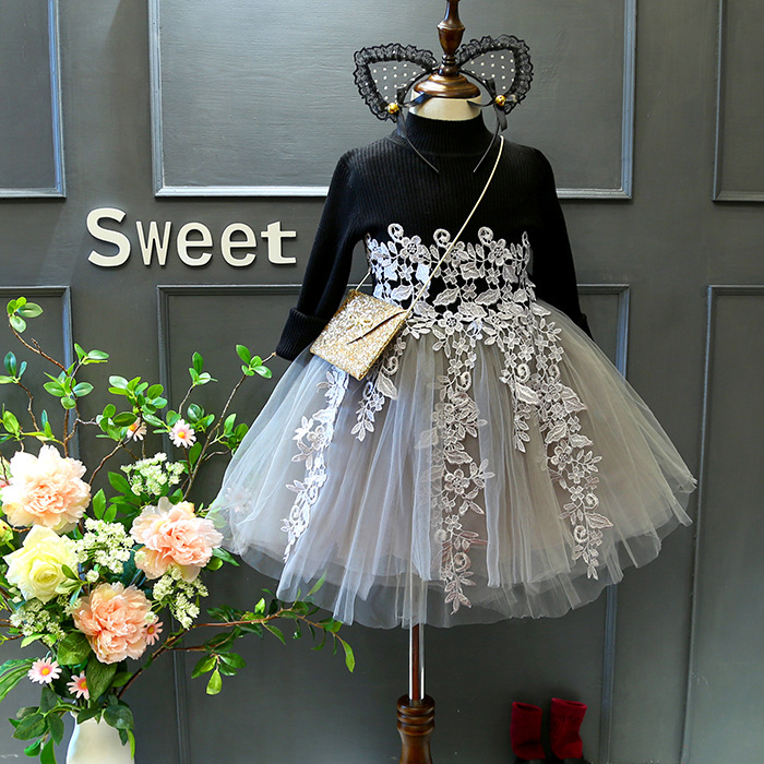 2017 new spring autumn Girls Kids knitted sweater lace dress comfortable cute baby Clothes Children Clothing 15W