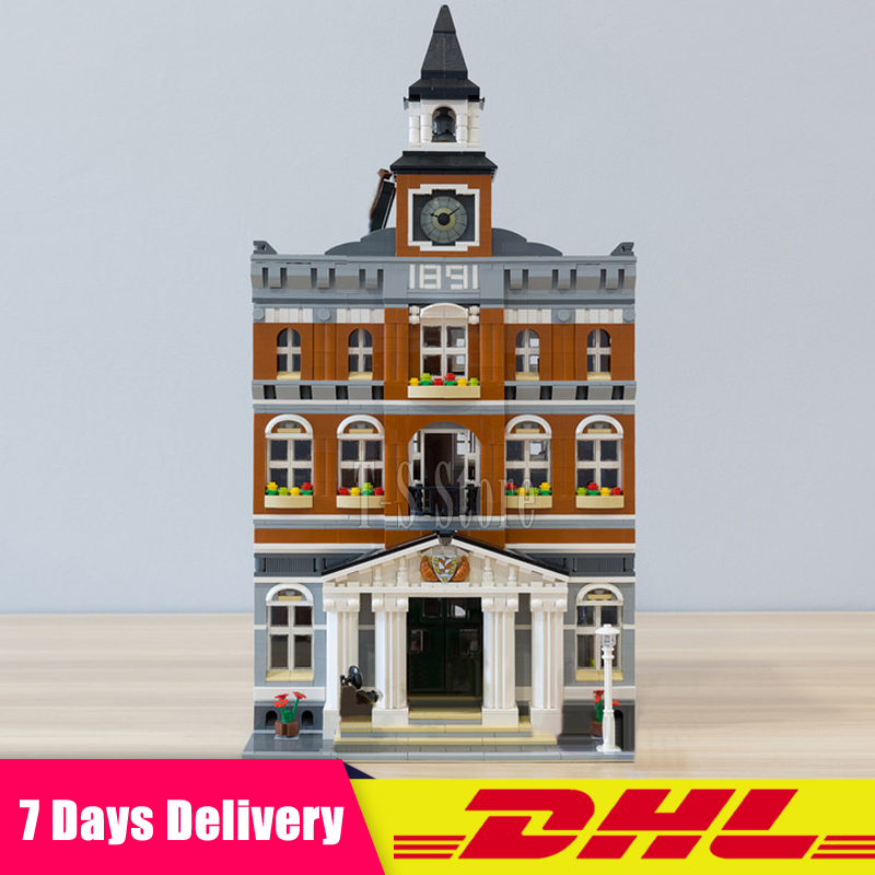 Moc 10224 DHL IN Stock LEPIN 15003 2859Pcs Town Hall City Street Model Building Blocks Bricks Figures Modular Set Diy Gift Toys dhl 2859 pcs lepin 15003 street town hall building set city street blocks model self locking bricks toy compatible 10224