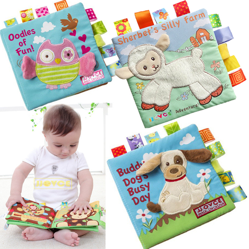 Soft Baby Cloth Book Educational Development Infant Early Learning Animals Monkey /Owl /Dog JJOVE Fabric Books Kids Rattle Toy