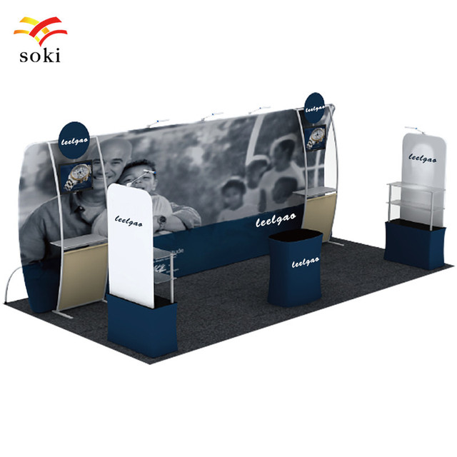 Exhibition Booth Backdrop : 20ft*7.5ft u shape exhibition booth exhibit tension fabric media