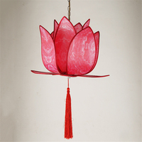 Classic red Led Pendant Lamp China Metal+Fabric, Vintage lotus flower Pendant Lights for Dining Room bedroom Modern Lighting