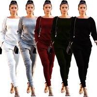 2017 High Quality Brand New Women 2PCS Set Cotton Long Sleeve Tops Crew Neck SweatShirt Pencil
