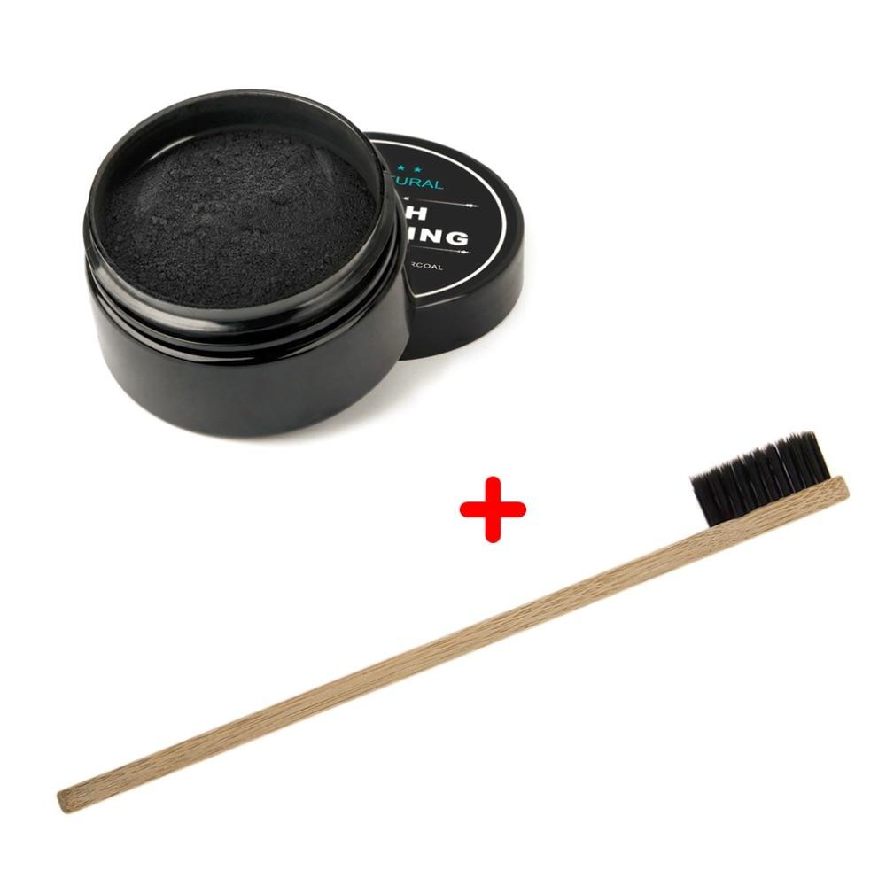 2020 Natural Teeth Whitening Whitener Activated Organic Charcoal Powder Polish Teeth Clean Strengthen Enamel + Bamboo Toothbrush