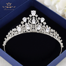 Bavoen European Brides Silver Hairbands Wedding Zircon Crystal Tiara Headwear Wedding Hair Jewelry