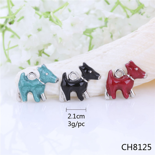 SALE! Dainty Vintage Silver Dog Clip Charm - Enamel Scottie Dog,3 Colors Choice Cheap Charms,Pendants for Nacklaces,Earrings