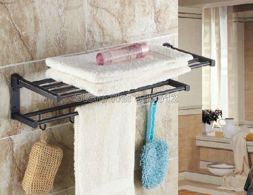 Black Oil Rubbed Brass Wall Mounted Bathroom Shelf With Hooks Towel Rack Holder With Towel Bar Wba321