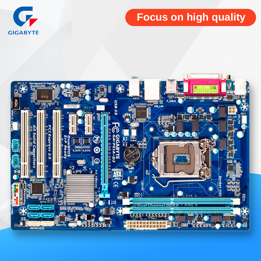 Gigabyte GA-P61A-D3 Original Used Desktop Motherboard P61A-D3 H61 LGA 1155 i3 i5 i7 DDR3 16G ATX asus p8h61 plus desktop motherboard h61 socket lga 1155 i3 i5 i7 ddr3 16g uatx uefi bios original used mainboard on sale