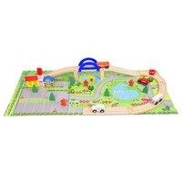 Children's Toy Train Wooden City Overpass Traffic Train Track Stitching Children's Toys