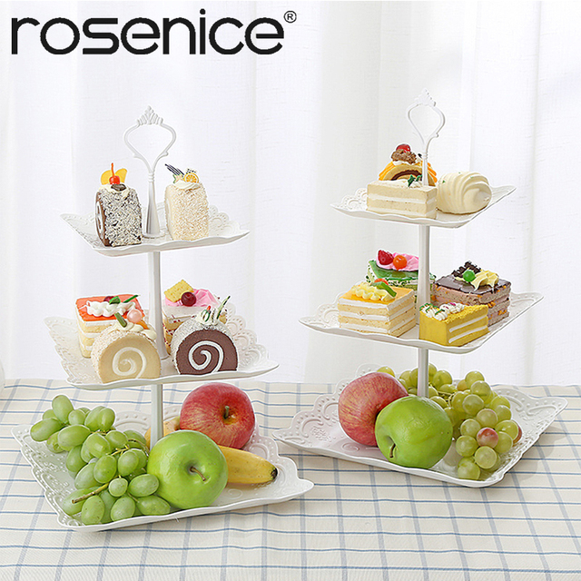 Three Tier Cake Display Stand Fruit Plate Afternoon Tea Party Serving Platter Cupcake Dessert