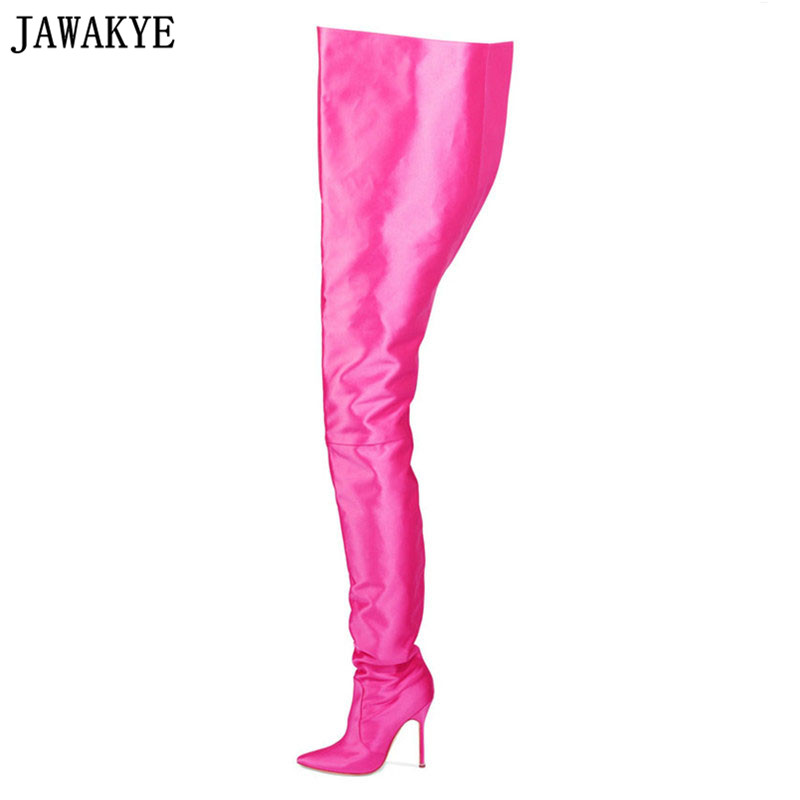 JAWAKYE Woman Extreme Long Waist High Boots Fluorescence Color Stretch Satin Thin High Heels Pointed toe Stage Long Botas Shoes