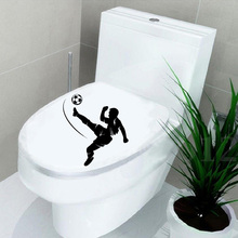 Soccer Player Sport Home Decor Bathroom Wall Toilet Stickers Decals Vinyl  6WS0177(China)
