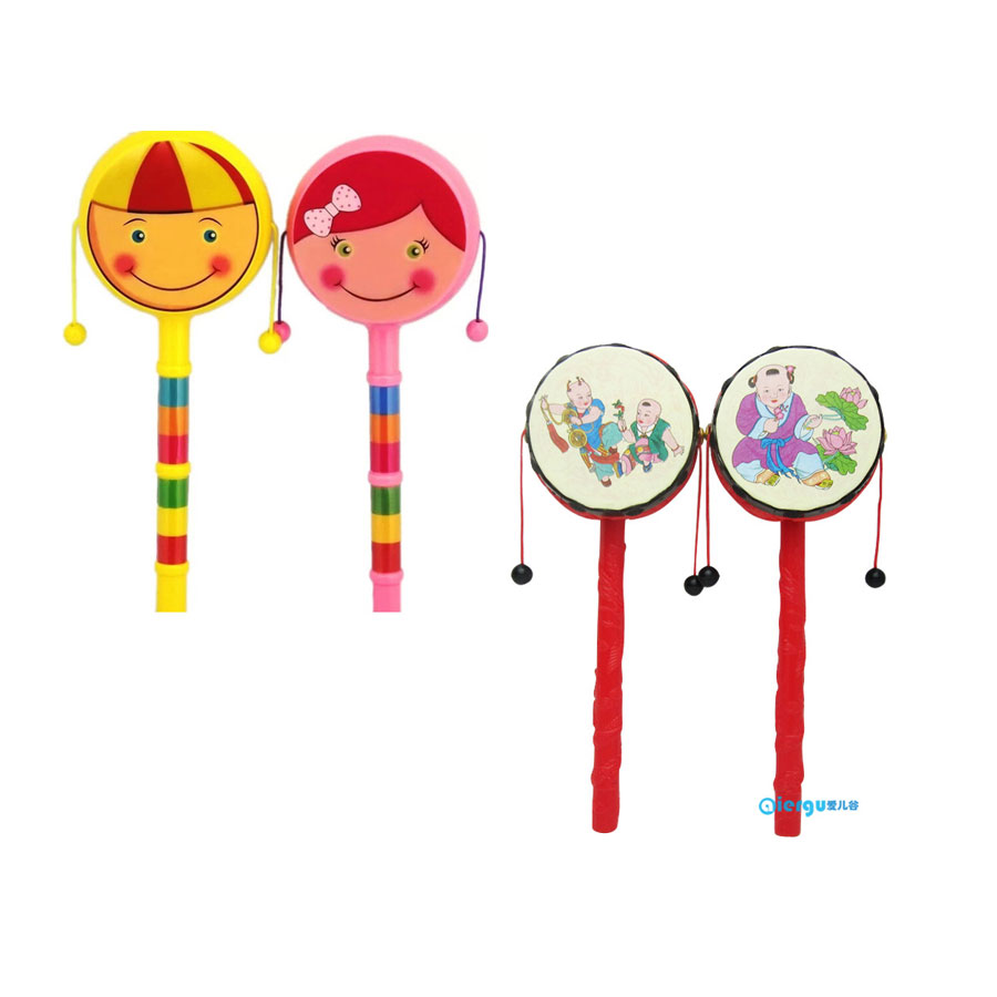 Baby Rattle Toys Wooden Rattle Pellet Drum Cartoon Musical Instrument Toy for Child Kids ...
