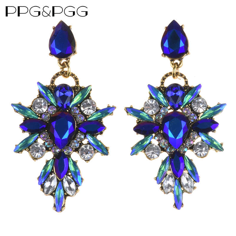 Vintage Gold Color Blue Glass Pendant Drop Earrings Gem Statement Earring Jewelry For Women
