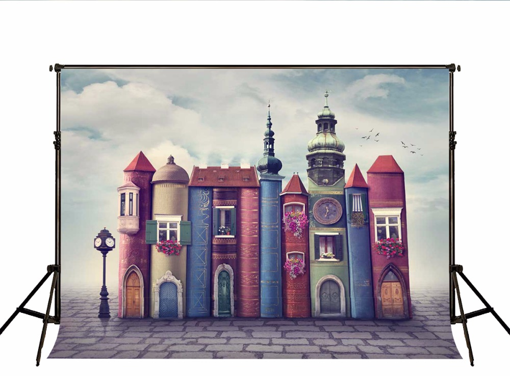 Kate Cartoon Book Castle Backdrop for Photography Portable Cotton Fairy Tale Photographic Backgrounds for Photo Studio 7x5ft