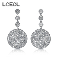 LCEOL China Factory Directly Sell Statement Zircon Disc Earring Charm Jewelry Brilliant Dangle Pendant Long Chain