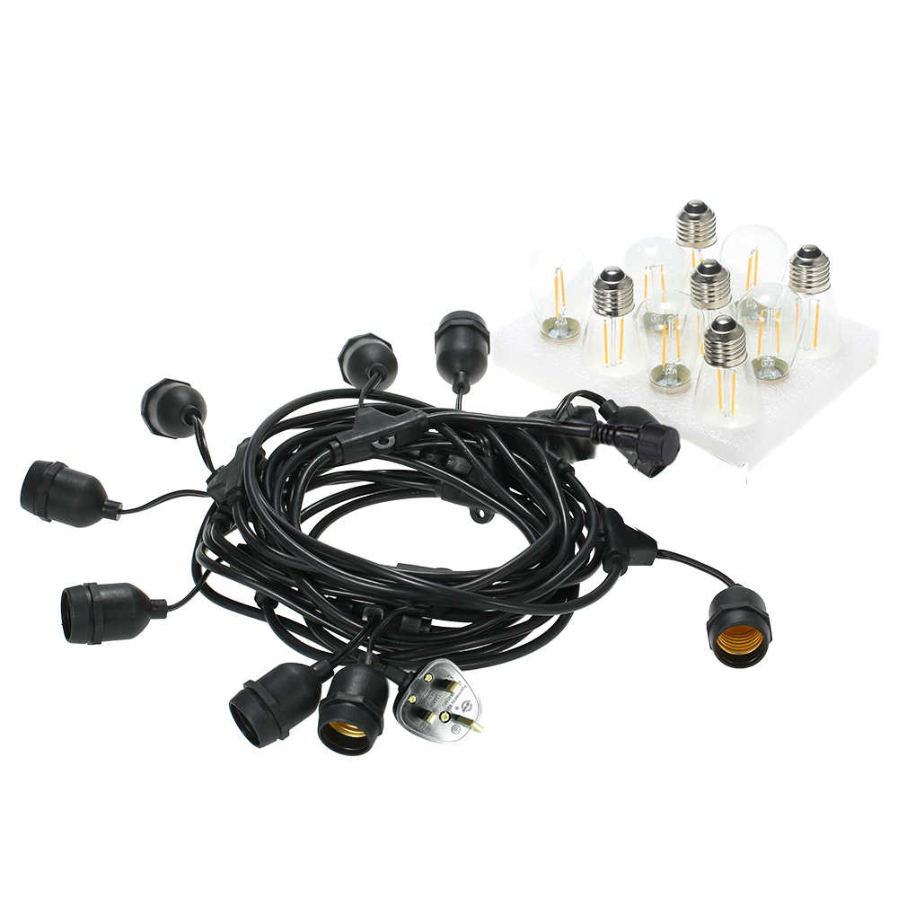 Tomshine String Light Комплект AC220-240V 15 Вт 33.5Ft E27 держатель гнезда цоколя 10 шт. светодиодный лампы накаливания 2 Запасная лампа свадебный открытый бар