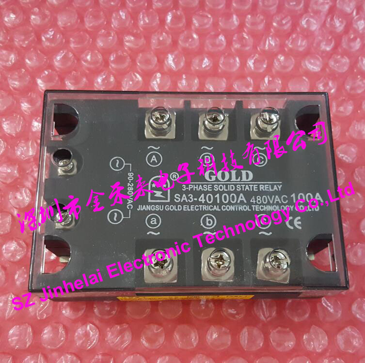 New and original SA340100A (SA3-40100A) GOLD 3-PHASE AC Solid state relay 40-480VAC 100A new and original sa366150d sa3 66150d gold 3 phase solid state relay ssr 4 32vdc 40 660vac 150a
