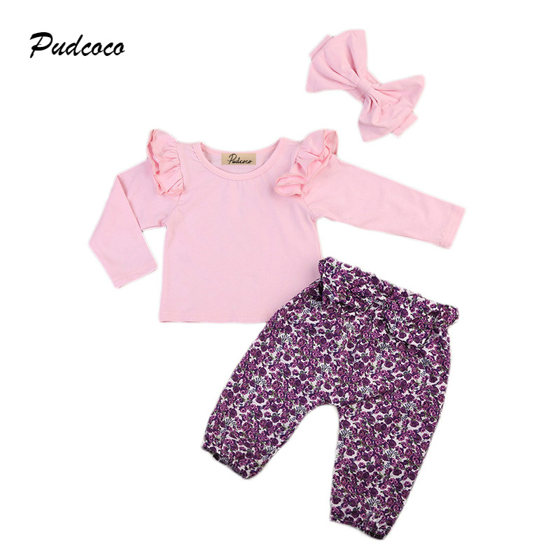 Cute Newborn Baby Girl Clothes Ruffles Long Sleeve Pink T-shirt Tops+Floral Pant Bow Headband 3PCS Outfits Children Clothing Set 2017 cute kids girl clothing set off shoulder lace white t shirt tops denim pant jeans 2pcs children clothes 2 7y