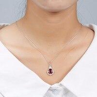 Hutang Natural Gemstone Rhodolite Garnet Solid 925 Sterling Silver Flower Bud Pendant Necklace For Women's Girls' Fine Jewelry