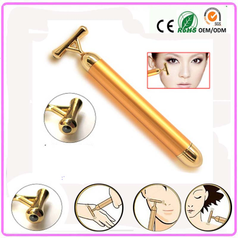 Electric vibrating 24k gold beauty energy stick bar facial skin care instrument tonning Massager device
