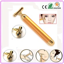 2PCS/LOT Electric vibrating 24k gold beauty energy stick bar facial beauty skin care instrument facial tonning Massager device