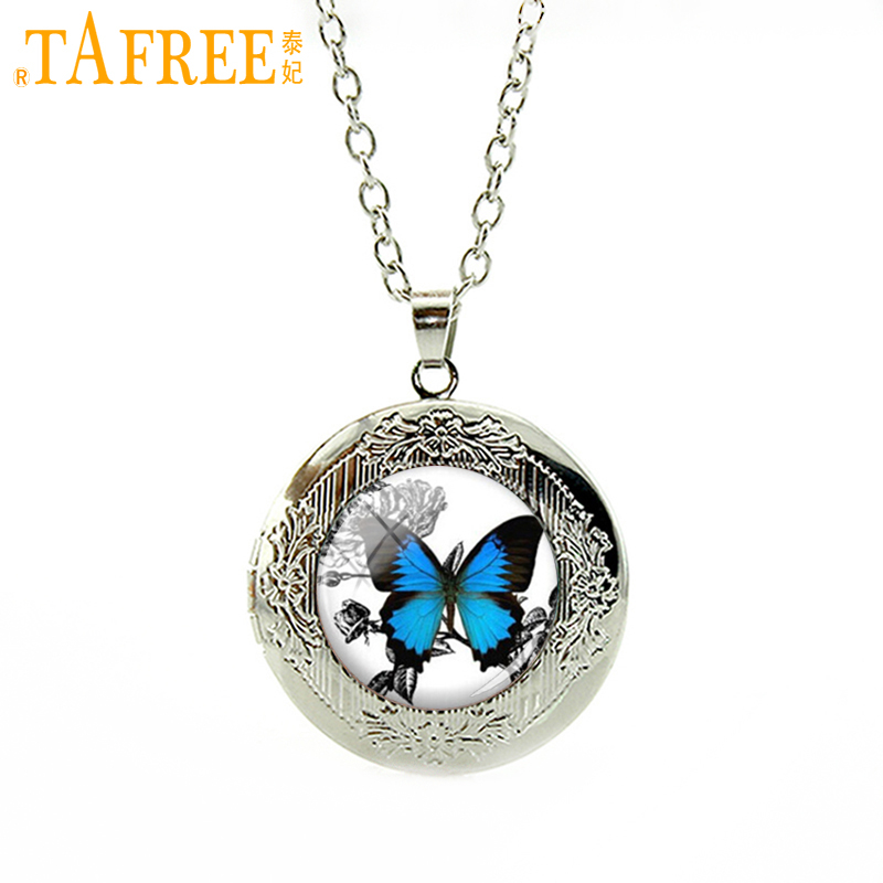 TAFREE Vintage Blue Butterfly Necklace Insect Picture locket Hänge Charm Presenter för kvinnor Glas Photo Necklace smycken N467