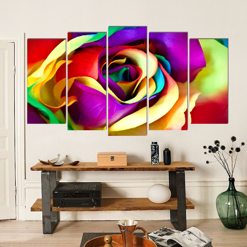 Colorful rose flower modern canvas painting home deco art prints 5 psc Europe wall pictures for living room bedroom shop lobby in Painting Calligraphy from Home Garden